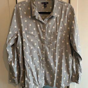 Polka Dot Gray Button Down Shirt